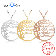 Personalized 925 Sterling Silver Family Tree Necklace Customized Letter Fine Jewelry Nameplate Mothers Pendants Christmas Gifts for Her