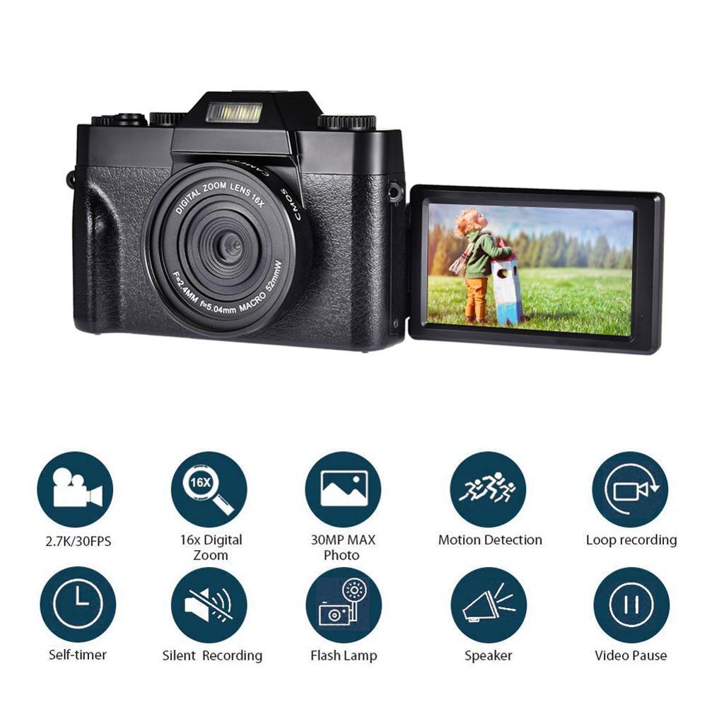 Digital Camera HD IPS Screen Video 30.0MP Camera Portable 16x Kids Digital Zoom Photo Camera Supports The External Lens And Mic