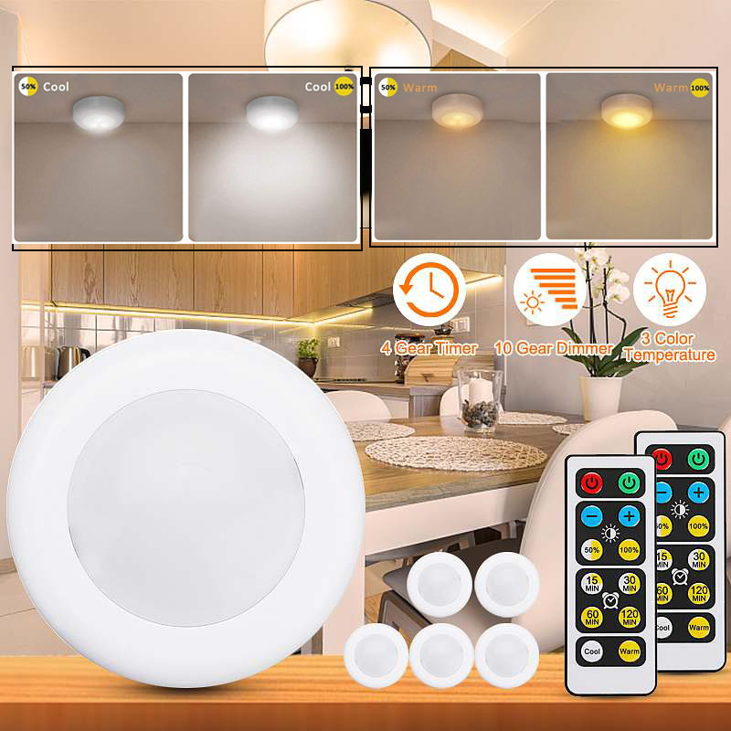 LED Under Cabinet Light Wireless Dimmable Touch Sensor LED Night Lamps Battery Power Remote Control Suitable for Kitchen Stair