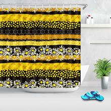 Daisy Flower Print Waterproof Stripe Shower Curtain Polyester Fabric Bath Curtain Bee Hive Home Bathroom Shower Curtains sunflower butterfly print fabric rustic wood shower curtain set yellow flower waterproof mildewproof bathroom shower curtains