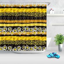 цена на Daisy Flower Print Waterproof Stripe Shower Curtain Polyester Fabric Bath Curtain Bee Hive Home Bathroom Shower Curtains
