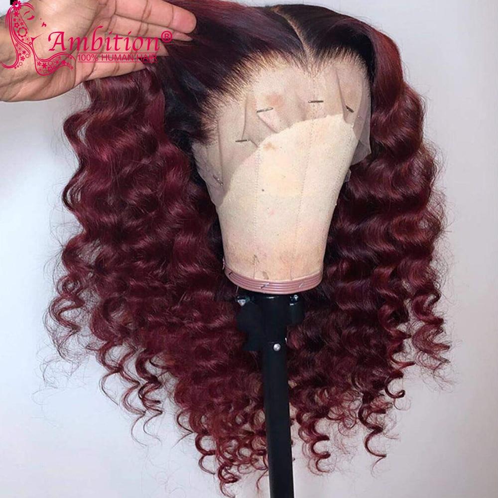 Реми предварительно человеческие волосы Синтетические волосы на кружеве парики темно корень эффектом деграде (переход от темного к бордов...