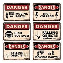 Iboowu perigo de poeira poster vintage retro metal estanho sinais decoração da parede alta tensão cuidado placas de aviso