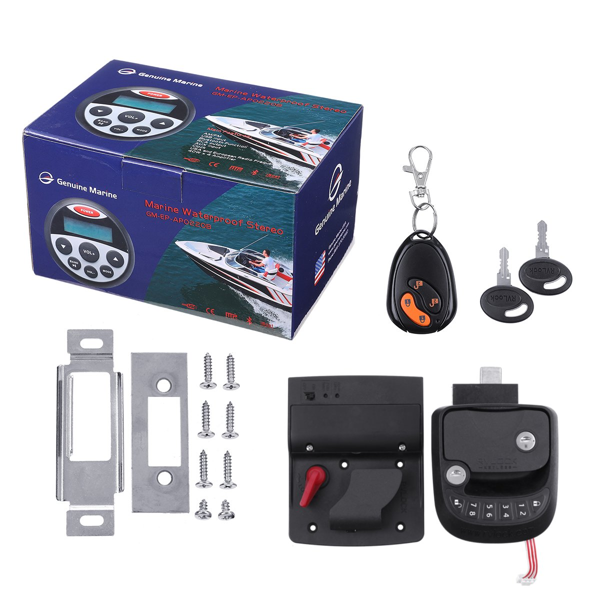 RV Quadruple sécurité sans clé entrée porte serrure poignée loquet 15M télécommande sans fil pour RV remorque caravane serrure avec clavier