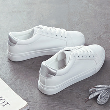 Spring New Fashion Shoes Women's Vulcanize Shoes PU Leather Casual Classic Solid Color Shoes Women White Shoes Sneakers Female solid color pu thread men's casual shoes