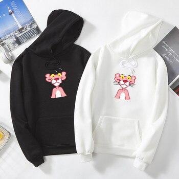 цена Funny cute cartoon Pink Panther print hoodies Graphic Harajuku All-match autumn Men's sweatshirt black hip hop teens streetwear онлайн в 2017 году