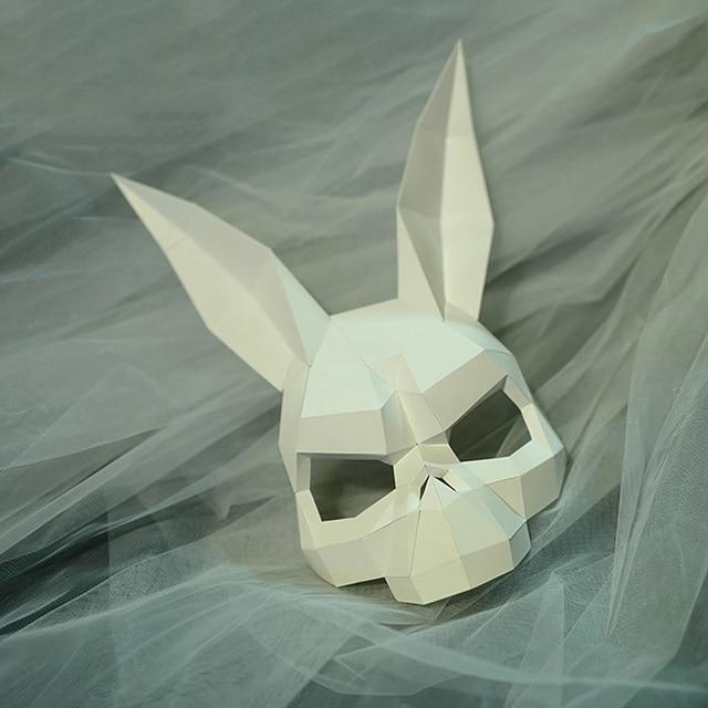 מסכת ראש אוריגמי - ארנב גולגולת 1