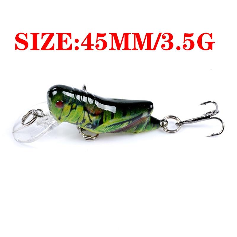 1pcs Insect Bionic Fishing Lure 45mm 3.5g Grasshopper Minnow Hard Baits Squid Artificial Swimbaits Bass Carp Pike Fishing Tackle-1