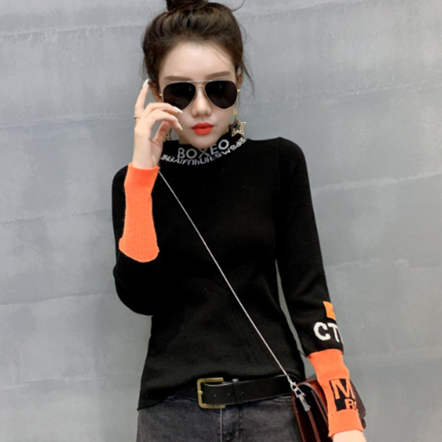 #3828 White Black Harajuku Woman Sweater Pullovers Long Sleeve Letter Tight Sweater Turtleneck Thin Knitted Tops Spring Autumn 6