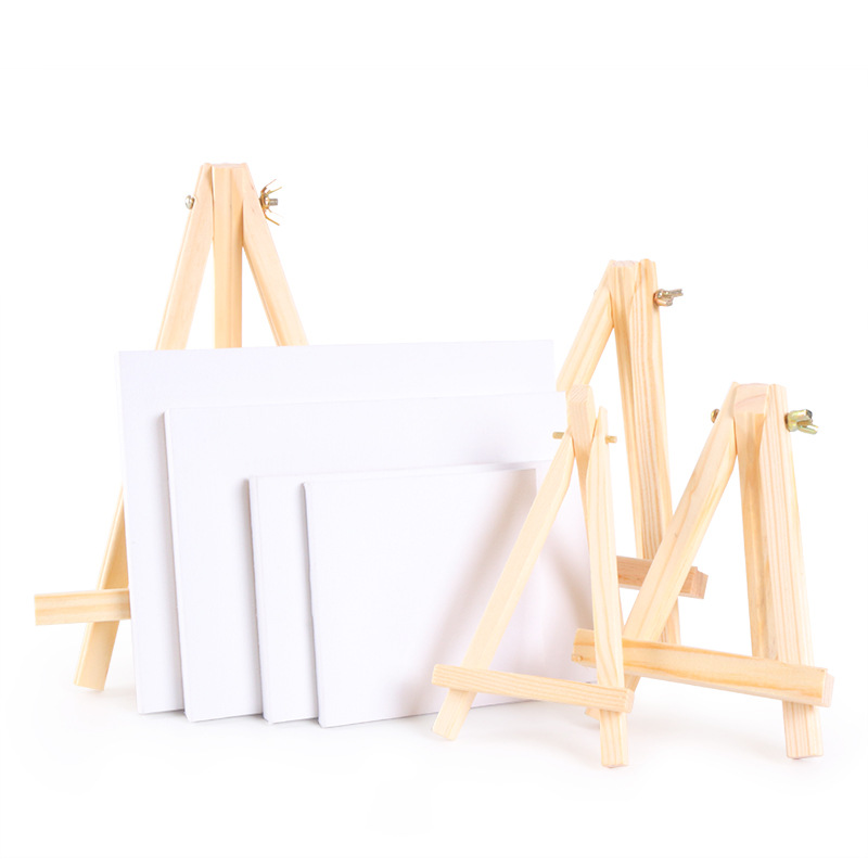 Mini Artist Wooden Easel With Canvas Crude Wood Wedding Table Card Stand Display Holder For Party Decoration Painting Easel Tool