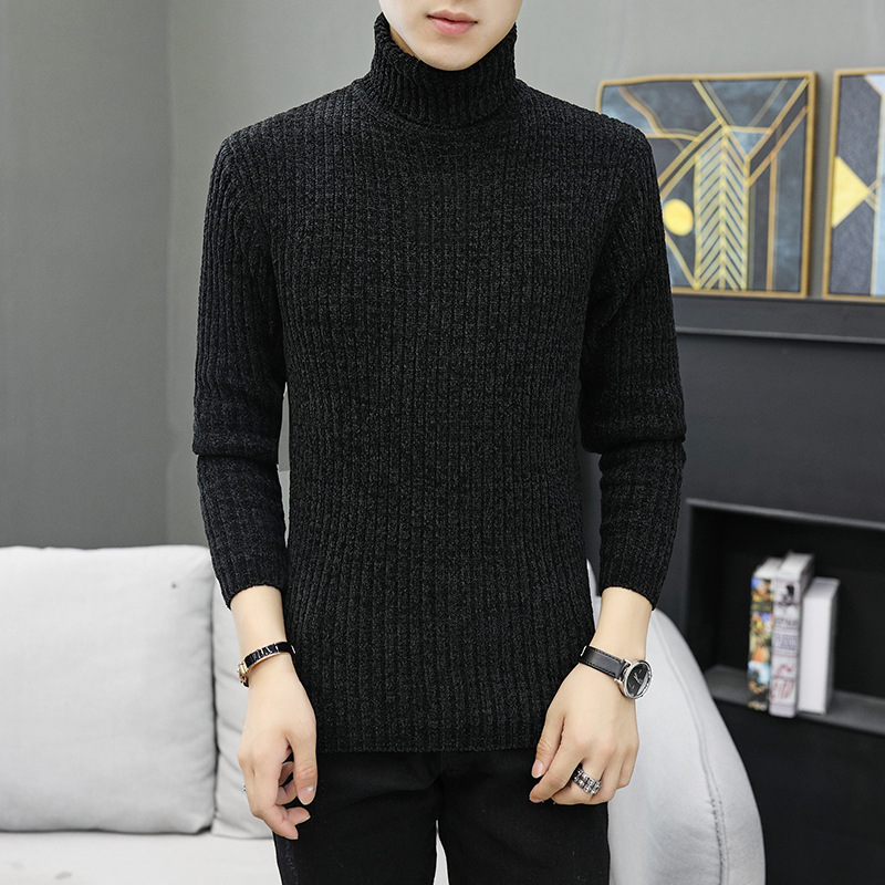 Men Sweaters Khaki Long Sleeve Turtleneck Grey Black Winter Casual Pullovers Thick New Fashion Mens Sweater