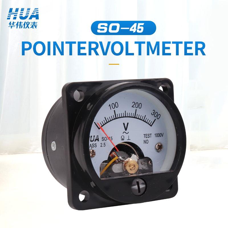 SO-45 AC Analog Voltmeter 5V 10V 15V 20V 30V 50V 100V 150V 200V 250V 300V 400V 450V 500V 600V Voltage Meter