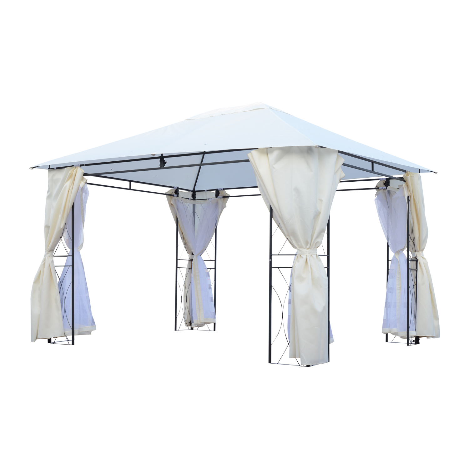 Outsunny Gazebo Marquee With Mosquito Net Waterproof With 8 Outdoor Garden Polyester And Iron Drain Holes 3x4 M Cream