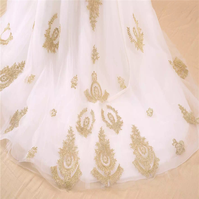Image 5 - vestido de noiva real photo Luxury A Line Embroidered Gold Applique Beaded Sweetheart bridal gown mother of the bride dressesMother of the Bride Dresses   -