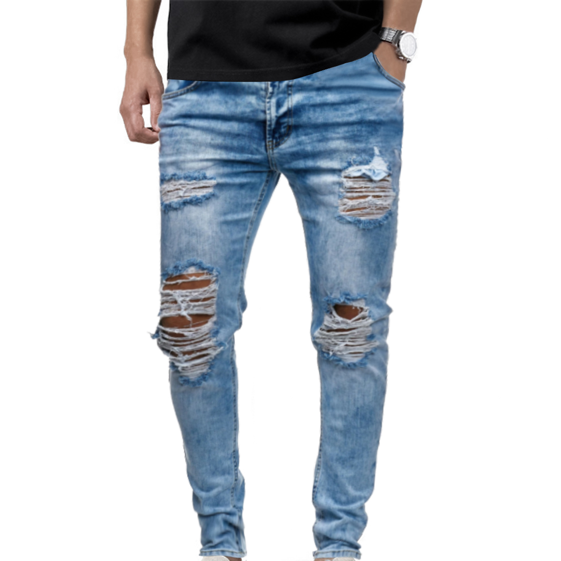 Mens Ripped Jeans For Men Casual Blue Skinny Slim Fit Denim Pants Biker Hip Hop Jeans Sexy Hole Denim Pants Streetwear NEW 2020