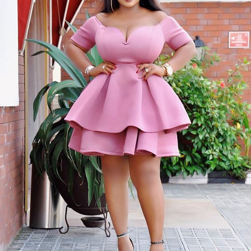Plus <font><b>Size</b></font> Party Vintage Pink <font><b>Sexy</b></font> Club African Style Women Mini <font><b>Dresses</b></font> Falbala Retro Female Elegant Ruffles <font><b>Big</b></font> <font><b>Size</b></font> <font><b>Dress</b></font> 2019 image