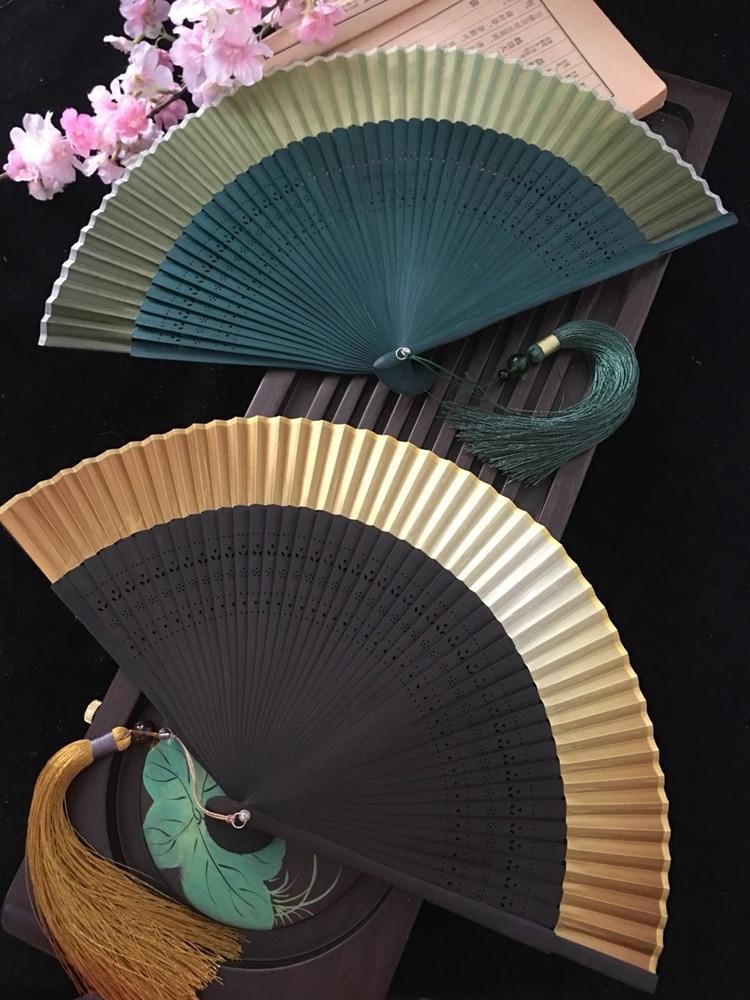 Japanese And Wind Fan Kimono Silk Flower Carving Gradient Blank Hand Held Fan Golden Green