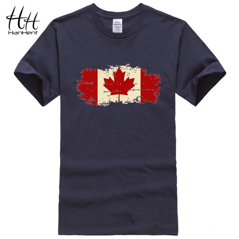 HanHent Canada Flag T-shirts Man O-neck Short Sleeve Tees Male Personalised T Shirts Streetwear Usa Style Custom Tshirt