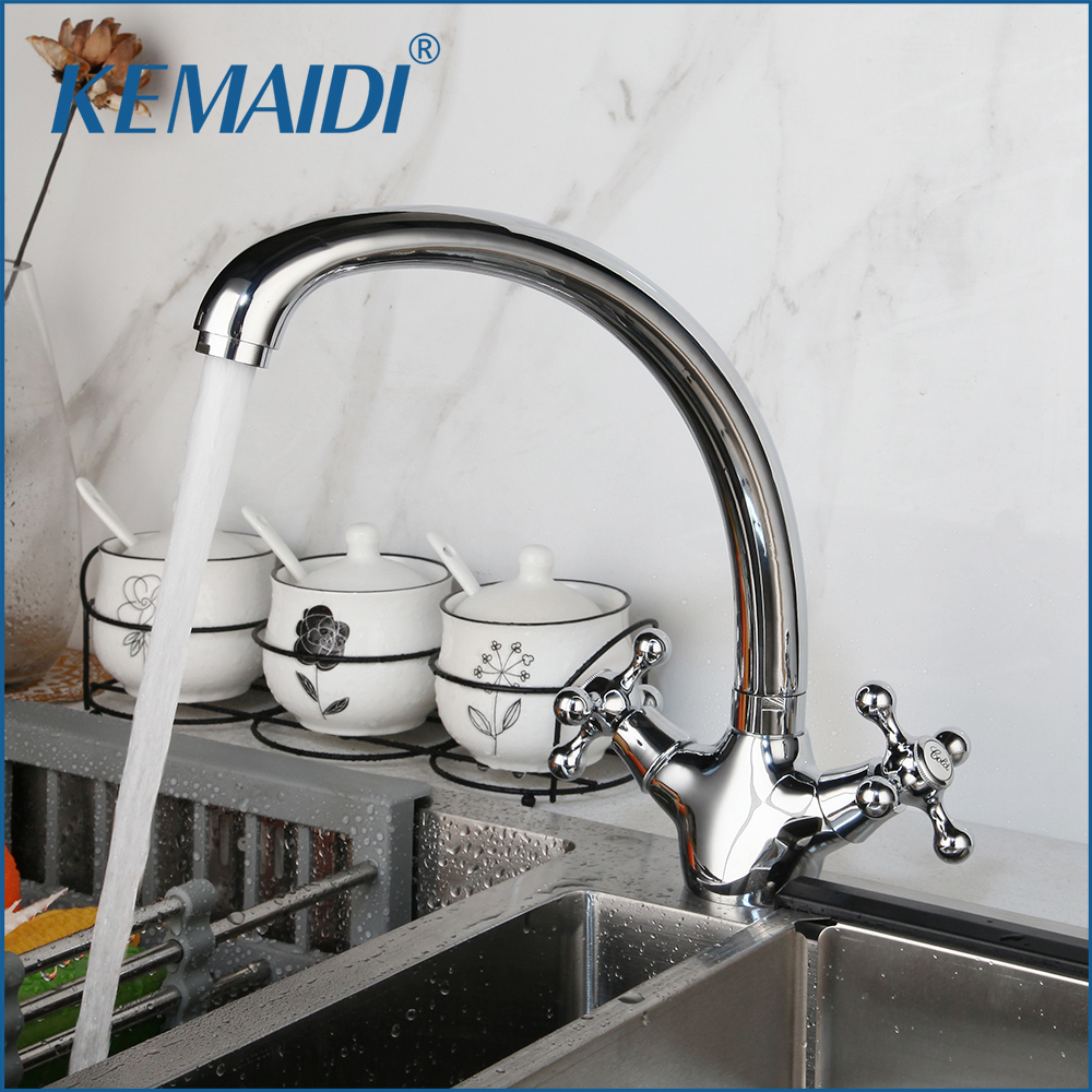 KEMAIDI  Kitchen Faucet 2 Handles Stainless Steel Stream Spout Kitchen Sink Tap Hot & Cold Water Mixer Tap 360 Swivel Chrome