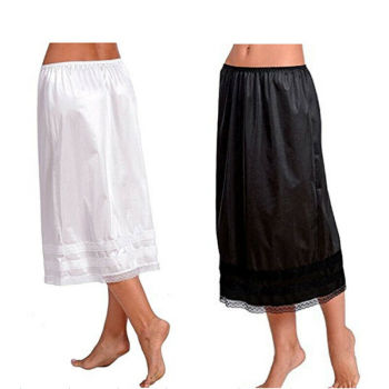 2019 Fashion Women's Lace Mid-Calt Skirt Elastic Waist Slip Solid Color Party Shopping Underskirt Petticoat Casual Bottoms L-3XL 2