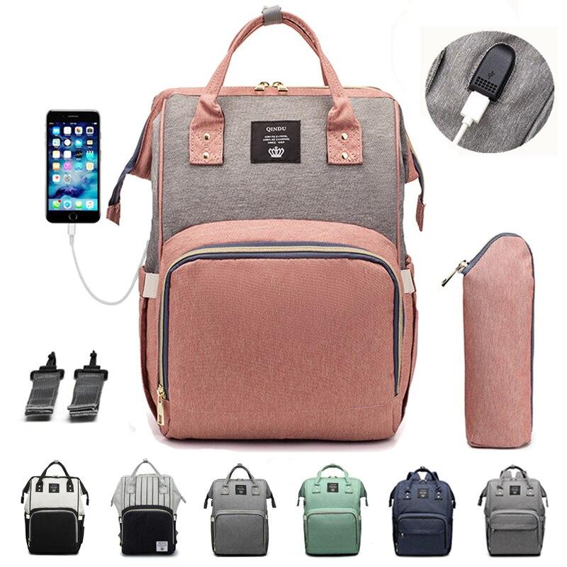 Mummy Bag USB Maternity Waterproof Diaper Bag USB Charging Large Mummy Nursing Backpacks Nappy Bag Brand Large Capacity Bag