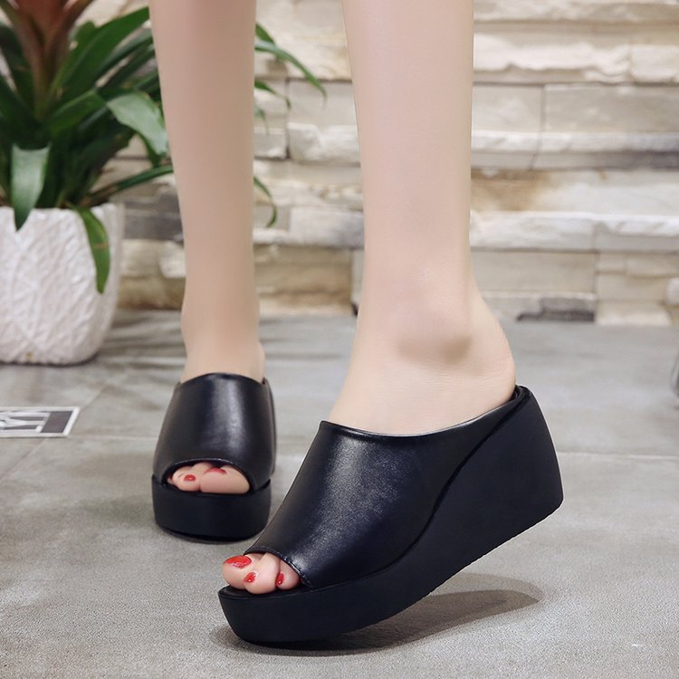 2020 Summer Women Black Wedge Slippers Slope Women's 7cm High Heels Platform Beach Shoes Mother Soft Fish Mouth Cool Slippers