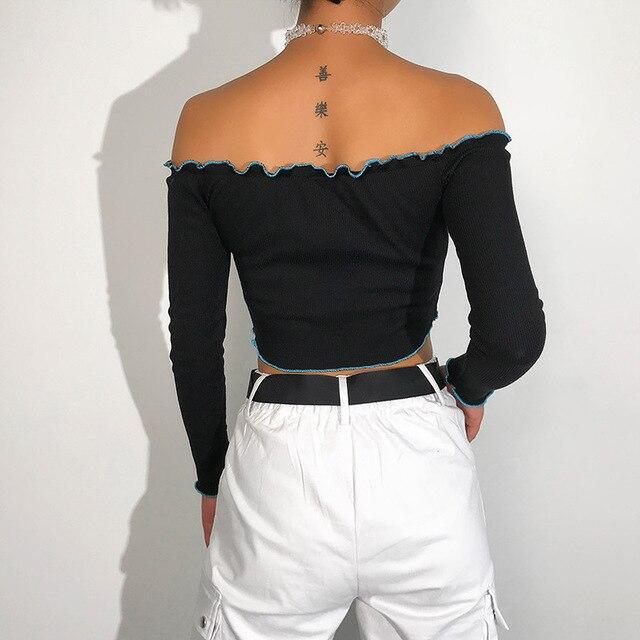 Фото женская футболка с вышивкой и длинным рукавом укороченный топ цена