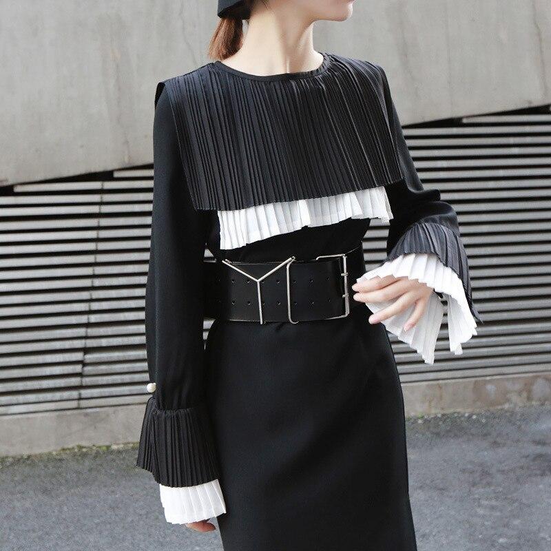TVVOVVIN femmes noir plissé Joint longue robe nouveau col rond manches longues lâche Fit mode marée printemps automne 2019 D358 - 2