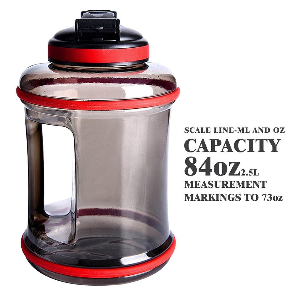Спортивная бутылка для воды 2,5 л, большая непрозрачная крышка для улицы, тренажерного зала, фитнеса, пешего туризма, тренировок, кемпинга, бе...