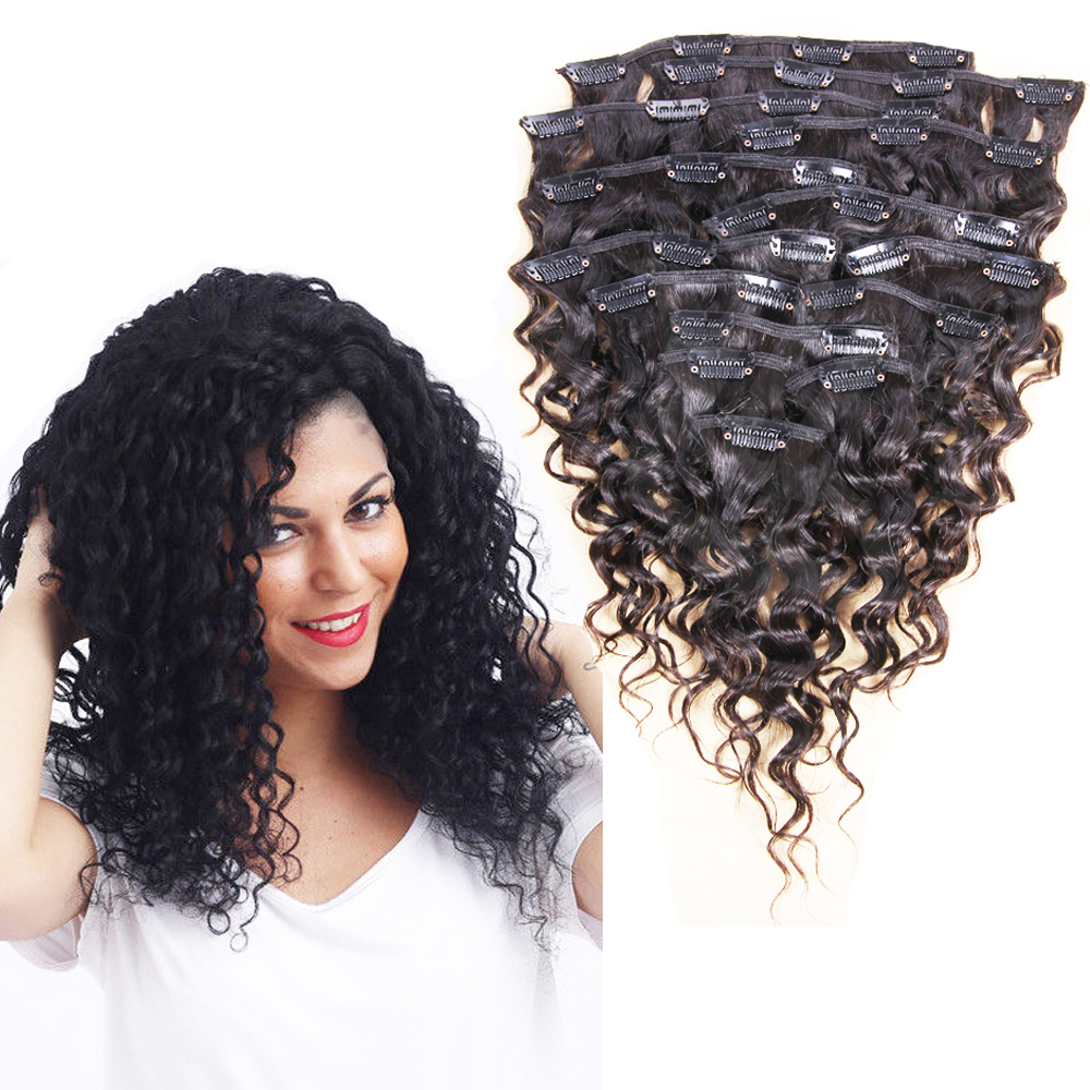 Full Head Clip In Human Hair Extensions Deep Water Wave 9pcs Set Hair Pieces for Women with Clips Many Color Available