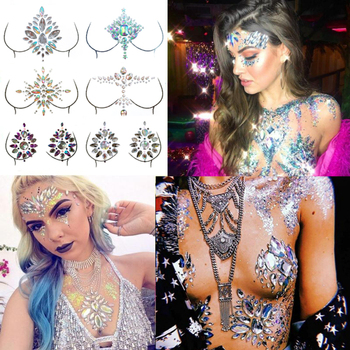 Acrylic Resin Face Chest Decoration Festival Rhinestone Stickers Temporary Tattoos Crystal Diamond Drill Paste Stick Drill Music