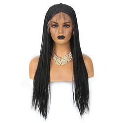 Charisma 13x6 Braided Wigs Middle Part Synthetic Lace Front Wig for Women 26 Inches Long Hair Braided Box Braids Wig  Black Wigs