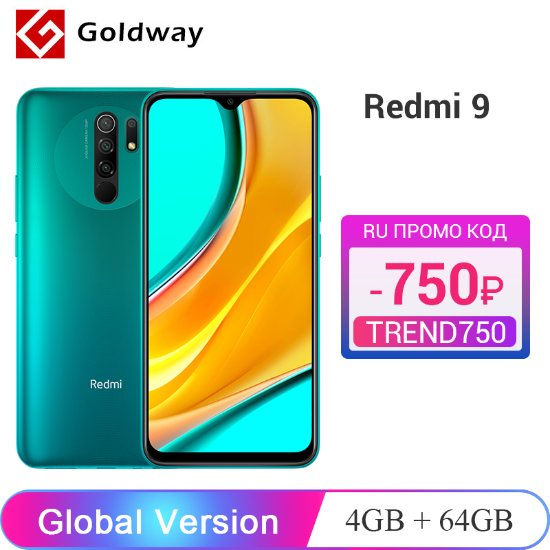 "Global Version Xiaomi Redmi 9 4GB 64GB Smartphone Helio G80 Octa Core 13MP Quad Camera 6.53"" FHD+ Display 5020mAh Battery(Hong Kong,China)"