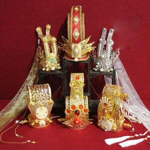 Starożytny chiński styl Vintage męskie włosy Tiara mężczyźni kapelusz korona kawałek książę cesarz królewska wysokość włosów Tiara dla TV Play Cosplay