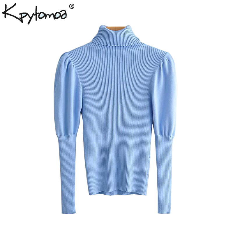 Vintage Stylish Turtleneck Knitted Sweater Women Tops 2019 Fashion Puff Sleeve Stretchy Ladies Pullovers  Casual Pull Femme