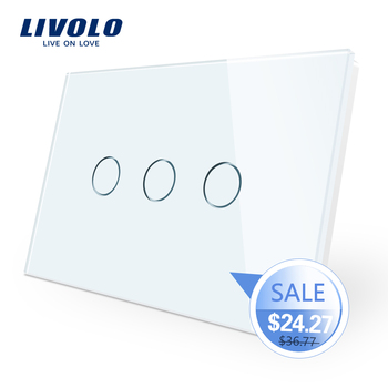 Manufacturer, Livolo Wall Switch VL-C903-11,3-gang 110~220V  Crystal Glass Panel,AU/US Standard Touch Screen Control Wall Light цена 2017