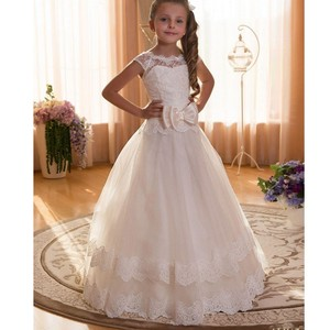 En Stock, gran lazo de encaje, vestidos de flores para niña, vestidos de desfile de tobillo largo chicas, vestidos de primera comunión, vestido de fiesta de boda