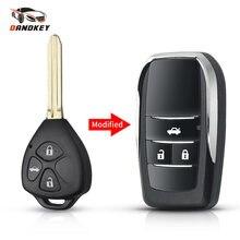 Dandkey substituição remoto caso chave para toyota scion corolla rav4 camry avlon 3 botões modificado dobrável chave escudo