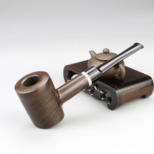 Top Grade Ebony Wood Pipe 9mm Filter Straight Smoking Pipe Creative Flat Bottom Tobacco Pipe 10 tools free Wooden Smoke Pipe