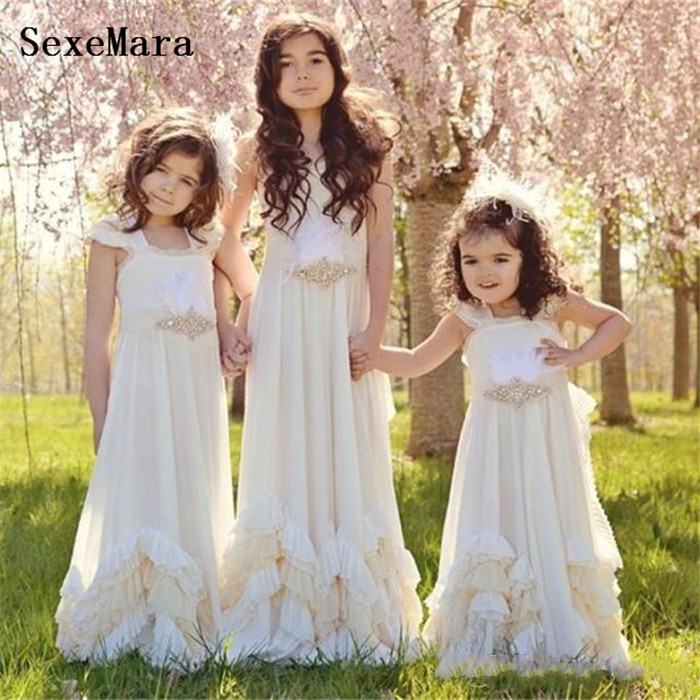 Ivory White Chiffon Boho Flower Girls Dresses for Wedding Sleeveless First Communion Dress Girl Pageant Gown Size 2-14Y