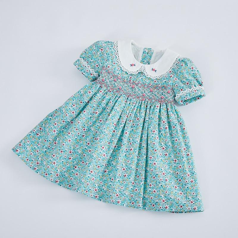 Kids Little Girls Handmade Smocked Floral Flower Print Dresses 2021 Spring Summer Toddler Girl Princess Vintage Smock Dress
