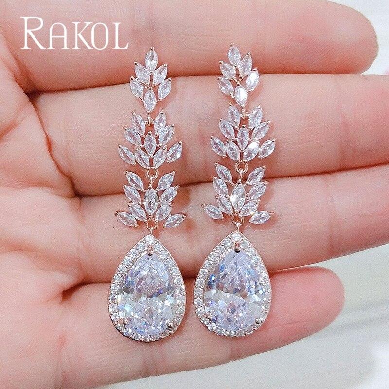 RAKOL брендовые Роскошные Длинные свадебные серьги белого цвета с синими кристаллами, Модные женские ювелирные изделия с фианитом