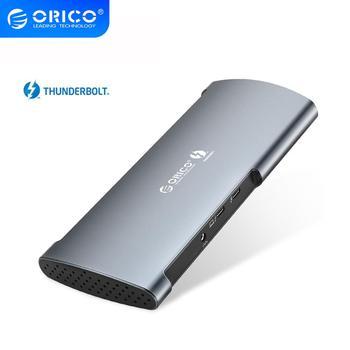 ORICO 40 gb/s prawdziwe Thunderbolt 3 Dock HUB USB typu C do 8K DP HDMI USB3.0 RJ45 SD4.0 60W Adapter do ładowania dla Macbook Pro Huawei