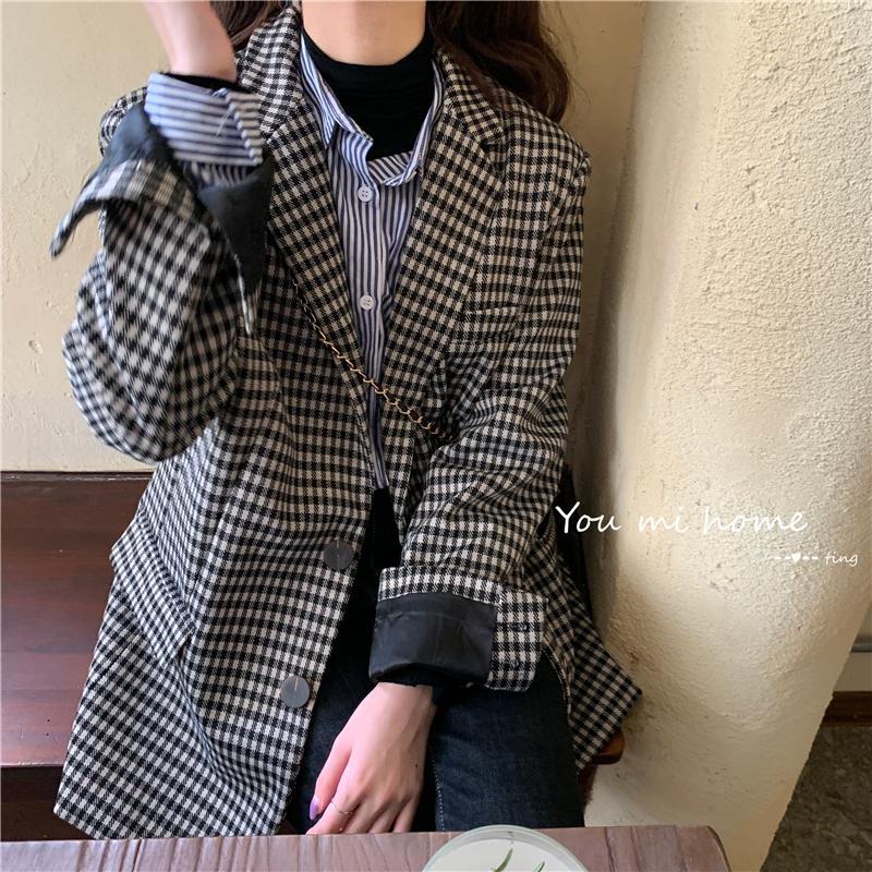 Vintage Double Breasted Office Ladies Plaid Blazer Long Sleeve Suit Coat Jacket Women blazers Female