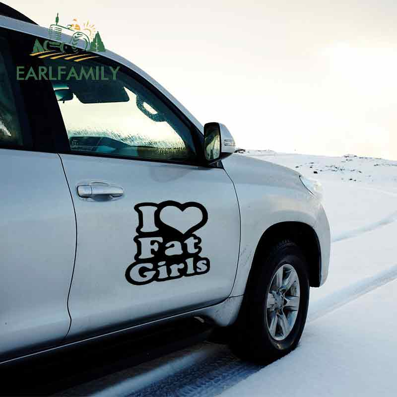 EARLFAMILY 58cm x I Love Fat Girls Vinyl Car Wrap Decal Truck Big Sticker Side Door Heart Chicks Thick Styling