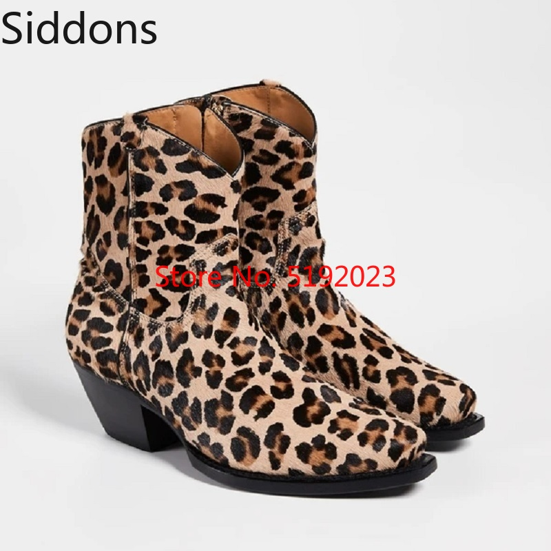 Winter Fashion Men Leopard Print Boots High Heel Pointed Toed Ankle Boots Casual Chelsea Boots Male Zipper Boot D167