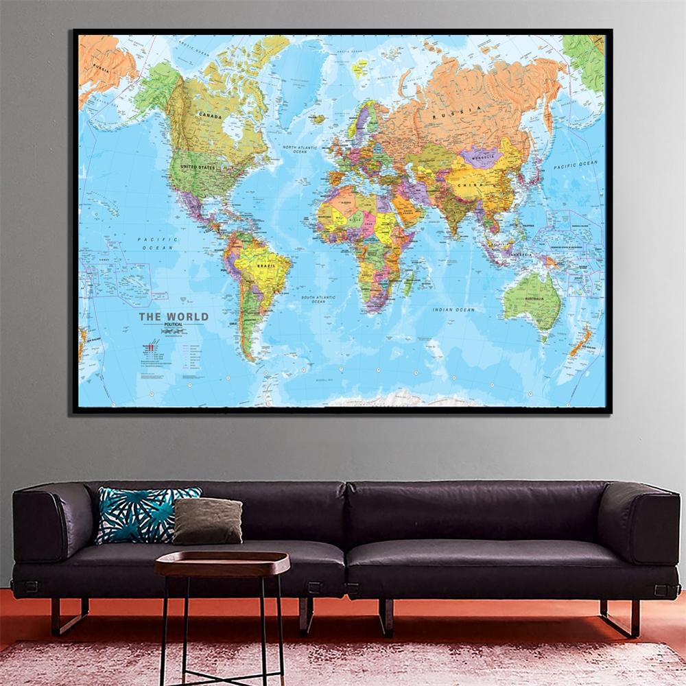 A2 Size Fine Canvas World Map Revised 2009 HD Wall Decor Map Unframed Painting For Office School Classroom Wall Decor