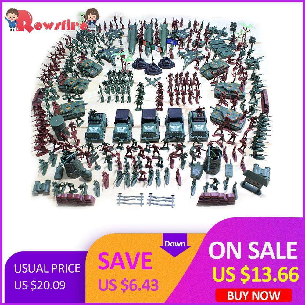 Rowsfire 301Pcs/Lot  5cm Plastic Soldier Model World War II Soldier Military Toy Set For Children