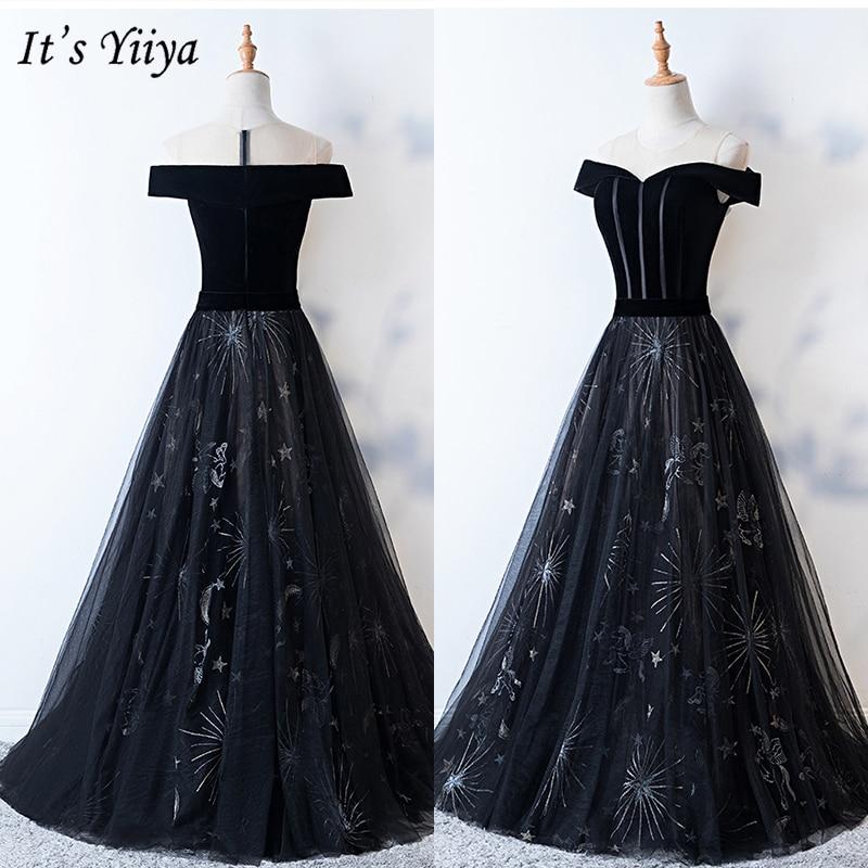 It's Yiiya Evening Dress 2019 Plus Size Short Sleeve Off Shoulder Princess Ball Gown Stars Pattern Elegant Formal Dresses E1006