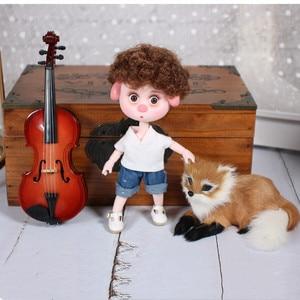Image 3 - 1/12 bjd 26 siamese 15cm mini boneca nova porco sorte ob11 boneca com equipamentos sapatos conjunto de maquiagem presente brinquedo